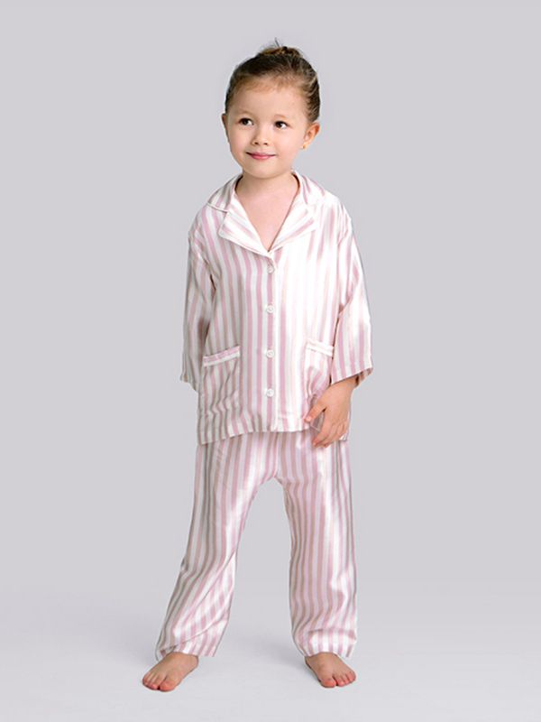 19 Momme Boys and Girls Kids Striped Silk Pajama Set